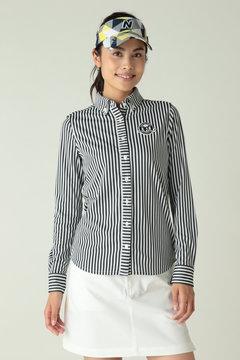 長袖ボタンダウンカラー ストライププリントシャツ (WOMENS)