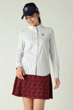 長袖ボタンダウンカラー ストライププリントシャツ (WMENS)
