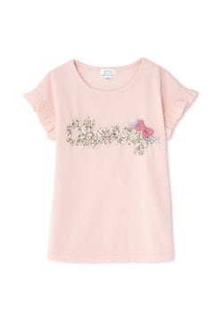 《KIDS》フラワープリントレタードTシャツ