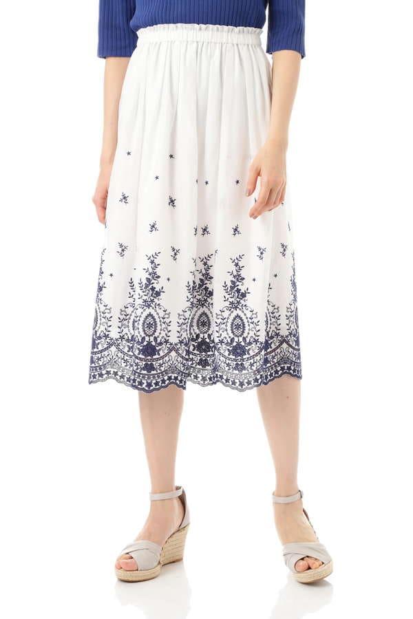 【先行予約 5月上旬 入荷予定】《Purpose》パネル刺繍スカート