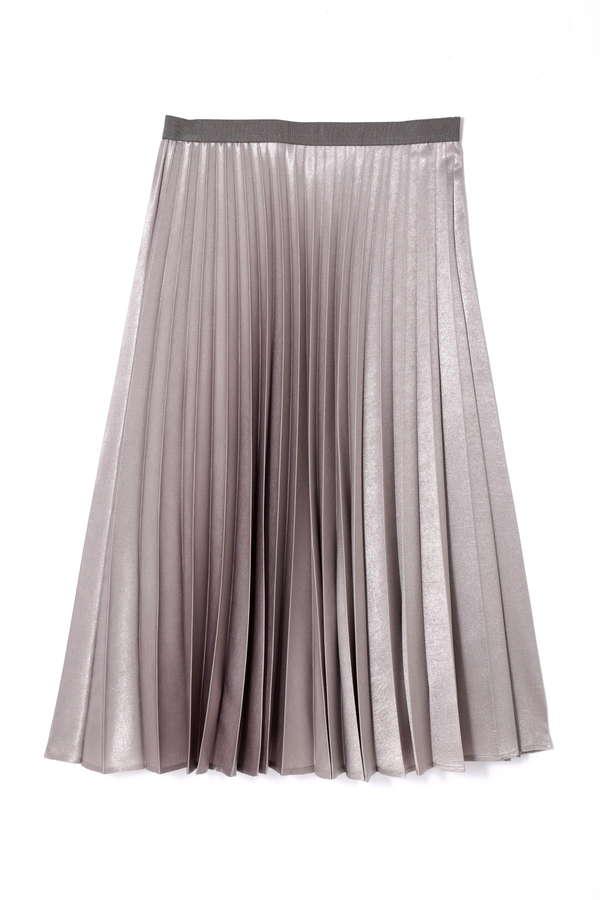 【先行予約 7月下旬 入荷予定】箔サテンプリーツスカート