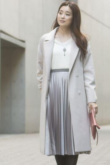 箔サテンプリーツスカート