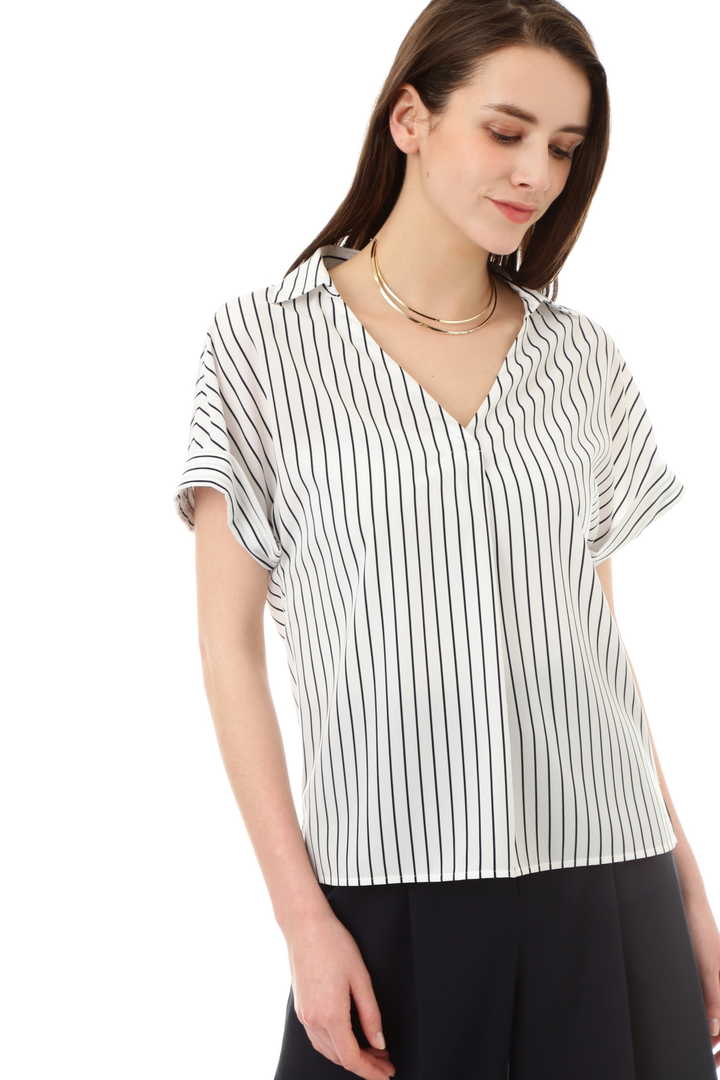 [ウォッシャブル]ストライププリントシャツ