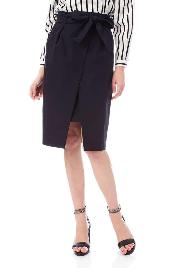 ヴェルダムシャンブレーリボンベルト付きラップ風スカート