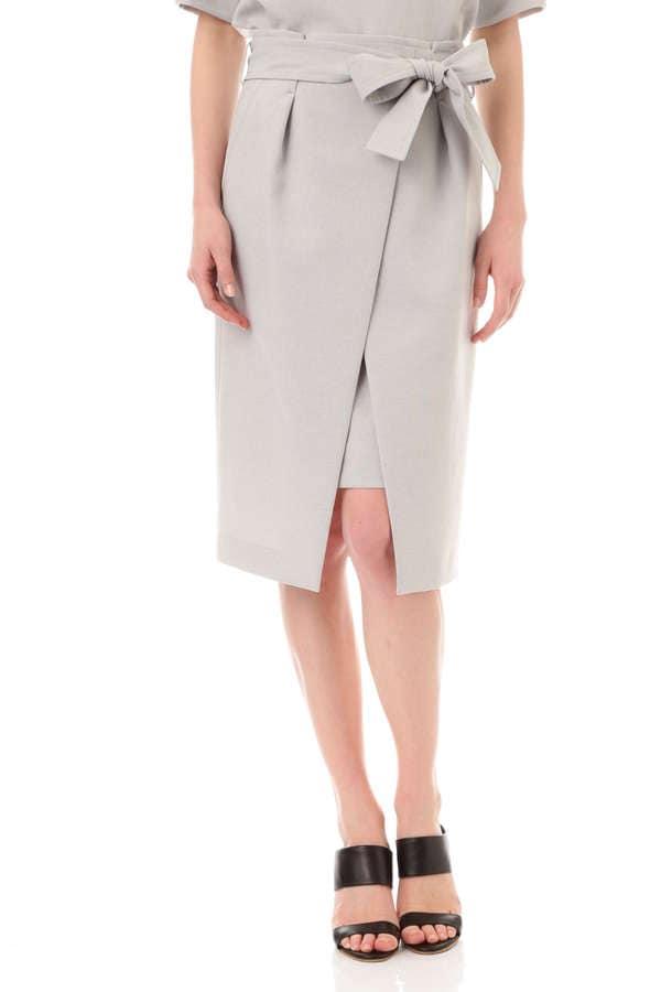 [Oggiコラボ商品]【Oggi5月号掲載】リボンベルト付きラップ風スカート