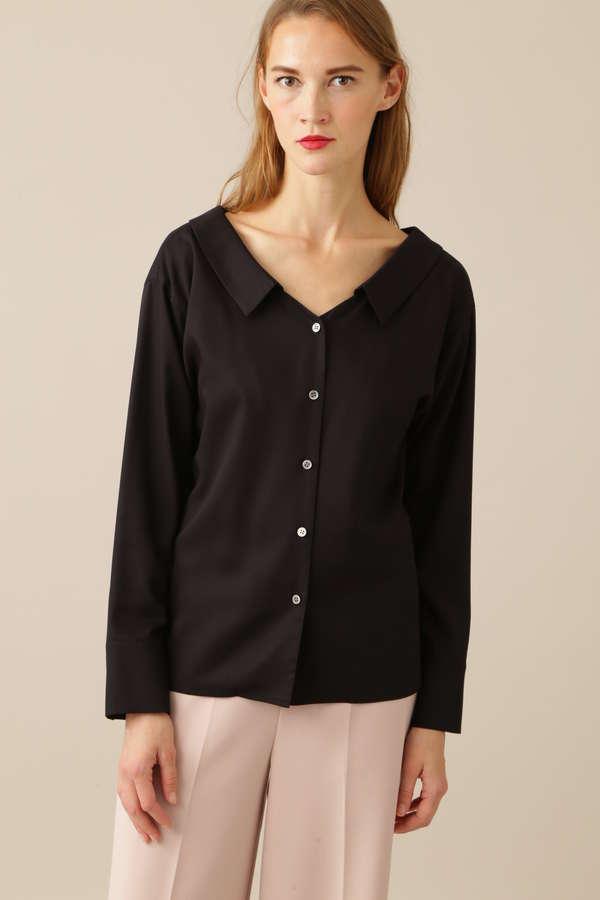 レーヨンドライツイルシャツカラーブラウス