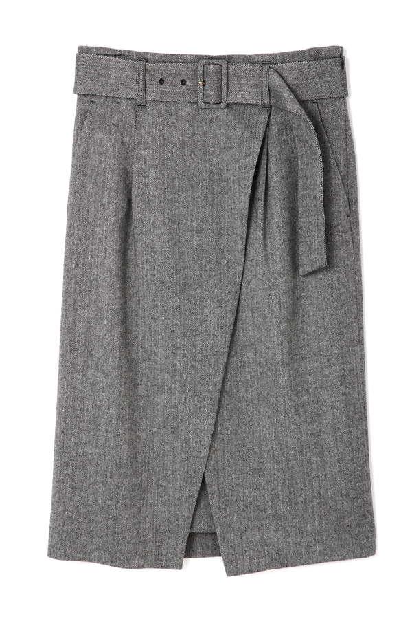 【先行予約 10月中旬 入荷予定】ソフトヘリンボンラップスカート