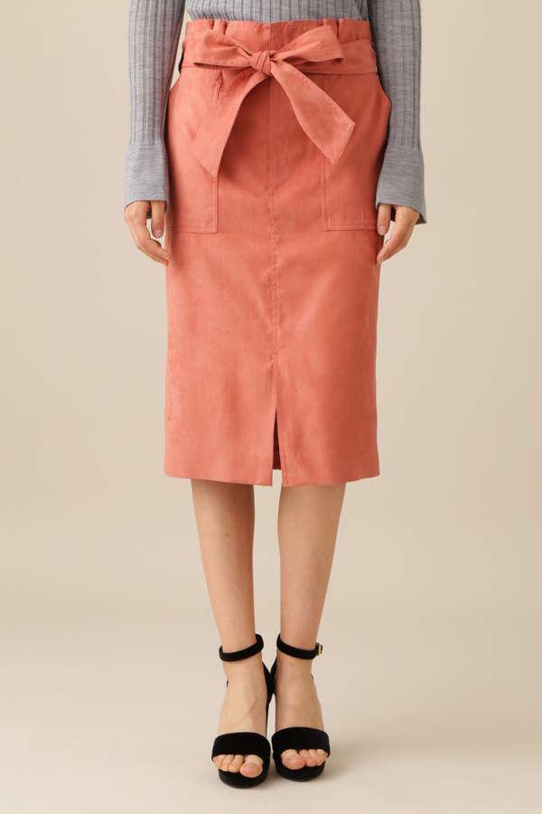 スエードリボンベルト付きスカート