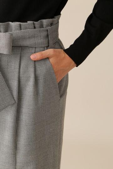 ストレッチグレンリボンベルト付きスカート