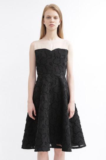 シアーカットジャガードドレス