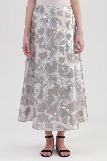 メタリックパターンフレアスカート