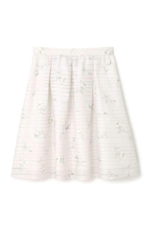 シアーボーダーフラワープリントスカート