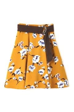 【先行予約_9月中旬入荷予定】ピーチヴィンテージフラワーベルト付フレアースカート