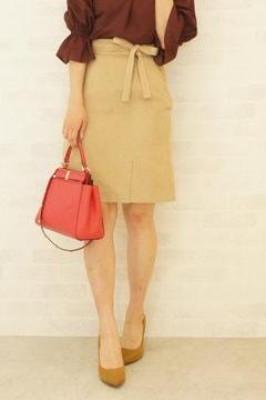 【先行予約_10月中旬入荷予定】【cancam 11月号掲載】シルキースエードタイトスカート