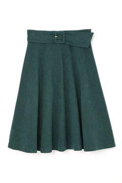 【先行予約_8月下旬入荷予定】サッシュベルト付きシルキースエードフレアスカート