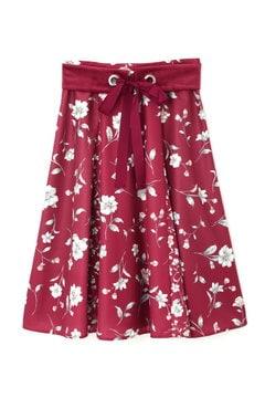 ベルト付きフラワーブロッキングスカート