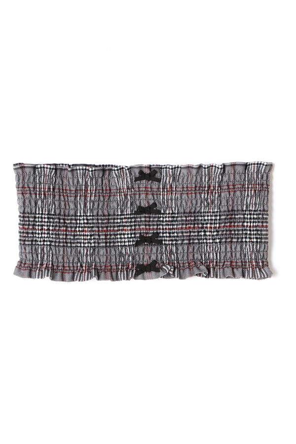 《EDIT COLOGNE》シャーリングベルト付きグレンチェックスカート