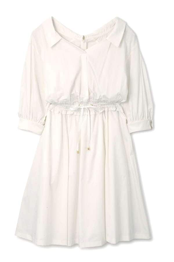 SHIRR WAIST SHIRT DRESS