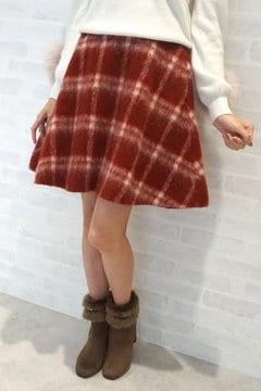【先行予約_10月上旬お届け予定】シャギー チェック フレアー スカート