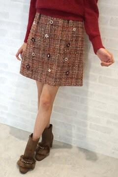 【先行予約_10月上旬お届け予定】フローラル オン ツイード スカート