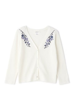 RIB EMBROIDERY CARDIGAN