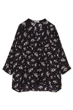 とろみ花柄スキッパーシャツ