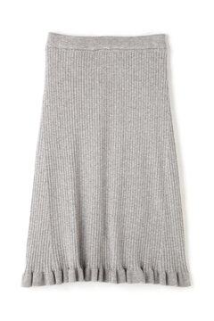 リブ裾フリルフレアスカート