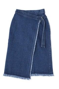 【先行予約_4月中旬お届け予定】リメイク風ロングラップデニムスカート