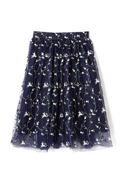【先行予約_3月上旬お届け予定】チュール刺繍フレアスカート
