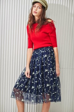 【CanCamコラボ・17SSMOOK BOOK掲載】チュール刺繍フレアスカート
