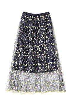 カラー刺繍チュールロングスカート