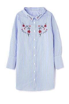 刺繍ストライプシャツワンピース