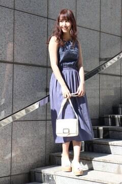 【ベッキーさん・宮田聡子さん着用アイテム・17SSMOOK BOOK掲載】刺繍レースドッキングロングワンピース
