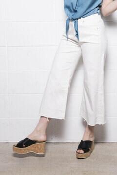 【堀田茜さん着用アイテム・17SSMOOK BOOK掲載】クロスコルクウェッジサンダル