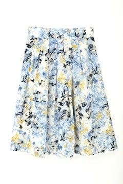 水彩フラワープリントスカート