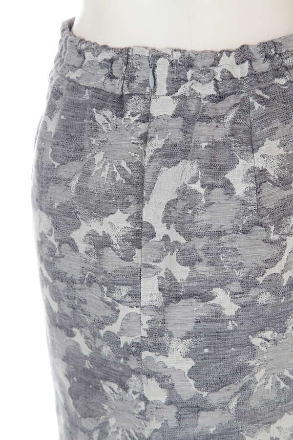 ビックフラワーリネンジャガードタイトスカート