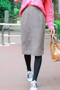 【先行予約_11月上旬お届け予定】ハイウエスト起毛タイトスカート