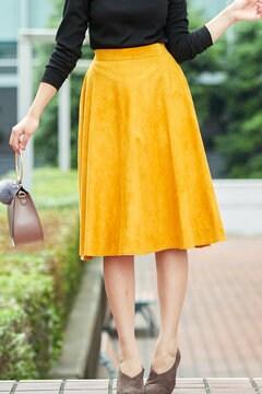 【先行予約_9月中旬お届け予定】ピーチスウェードフレアースカート