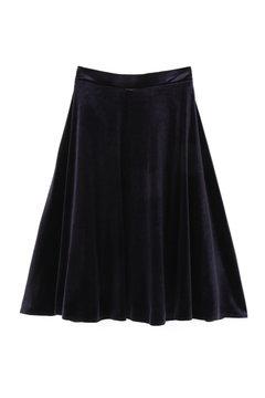 【先行予約_9月中旬お届け予定】ストレッチベロアフレアースカート