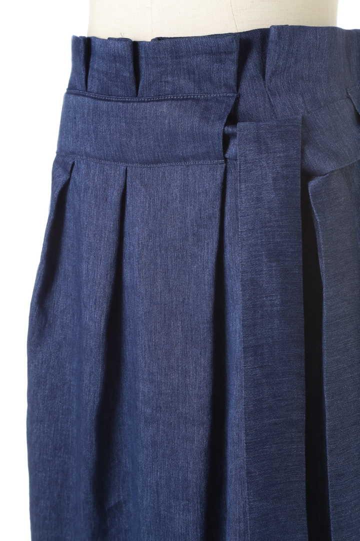 シャンブレーデニムラップ風スカート