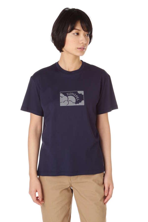 Women's Long-Staple Cotton T-Shirt With Sun & Cloud Print