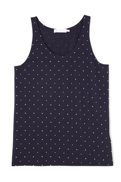 Women's Long-Staple Cotton Tank Top in Navy/White Spot and Cross