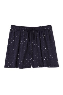 Women's Long-Staple Cotton Lounge Shorts in Navy/White Spot and Cross