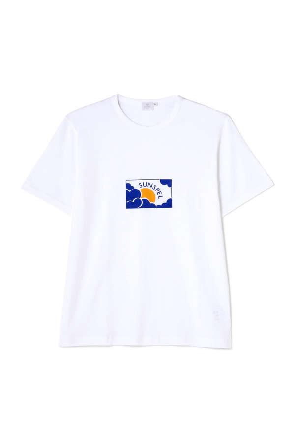 Men's Long-Staple Cotton T-Shirt With Sun & Cloud Print