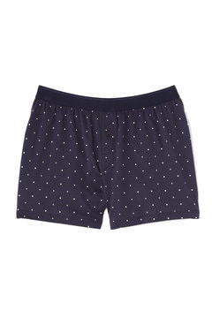 Men's Long-Staple Cotton One-Button Short in Navy/White Spot and Cross