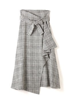 ELIN / Check wrap with belt skirt