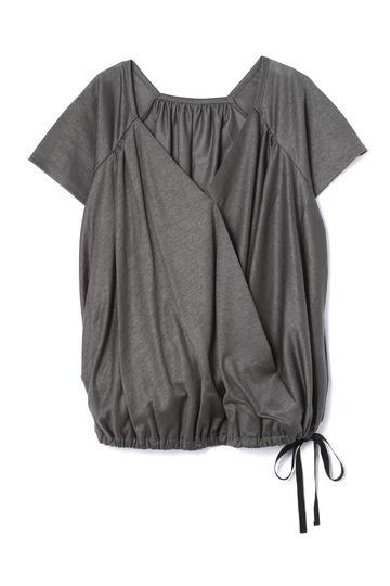 Unaca noir ギャザーカシュクールTシャツ