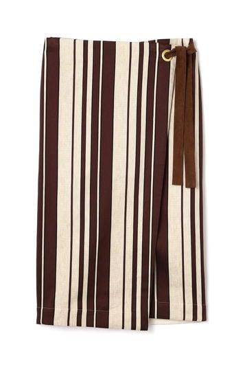 Unaca サイドリボンストライプスカート(セットアップ対象商品)