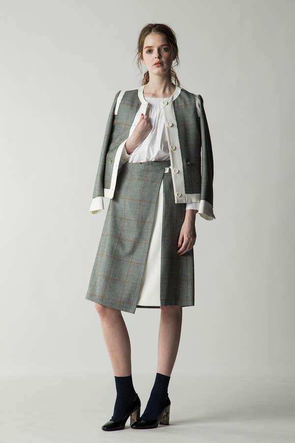 グレンチェックラップ風スカート(セットアップ対象商品)