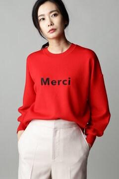 【先行予約 11月上旬 入荷予定】Unaca noir Merci刺繍ロゴニット